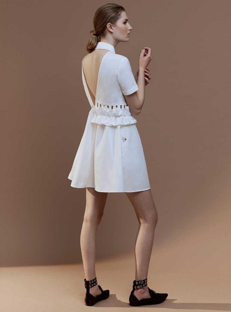 Self-Portrait Ruffled V-back cotton-poplin dress