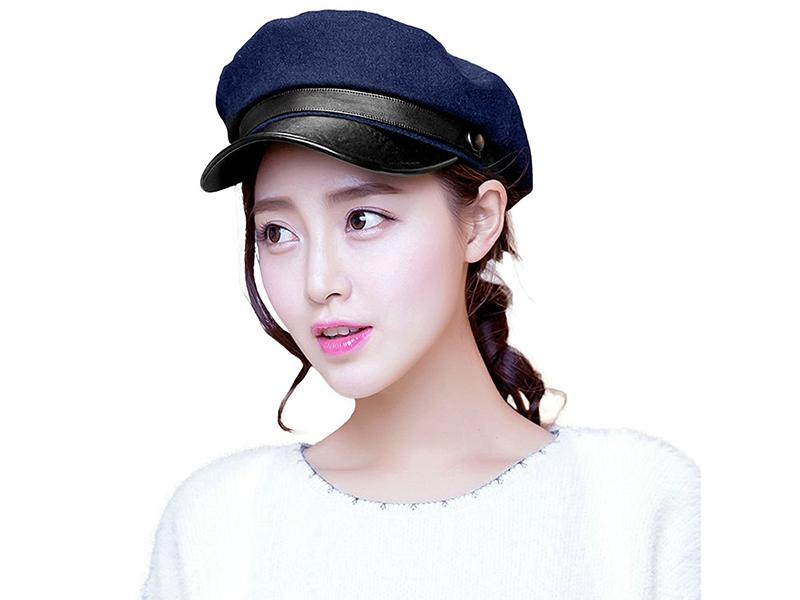 Siggi Womens Wool Newsboy Cabbie Cap Painter Cop Hats PU Bill Multi Colors