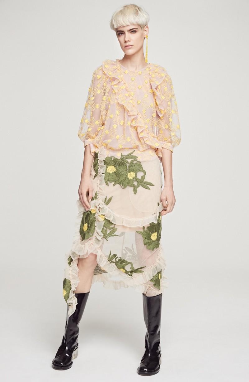 Simone Rocha Embroidered Peony Skirt