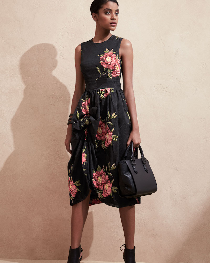 Simone Rocha Floral Sleeveless Knot-Skirt Dress