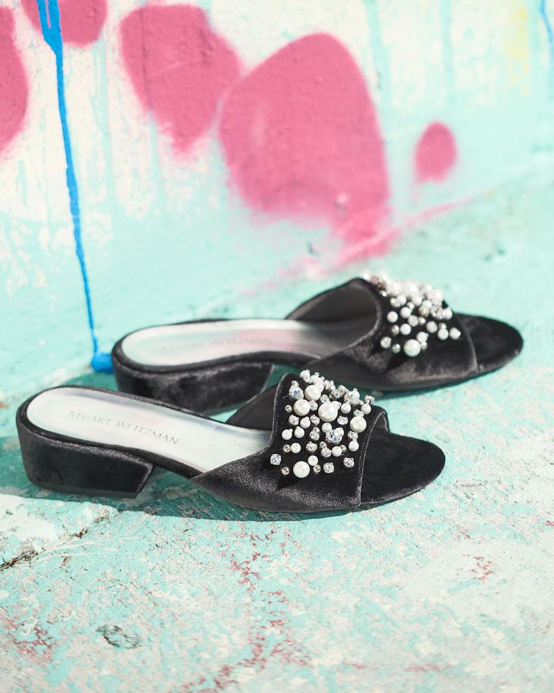 Stuart Weitzman Decorslide Embellished Velvet Sandal 1