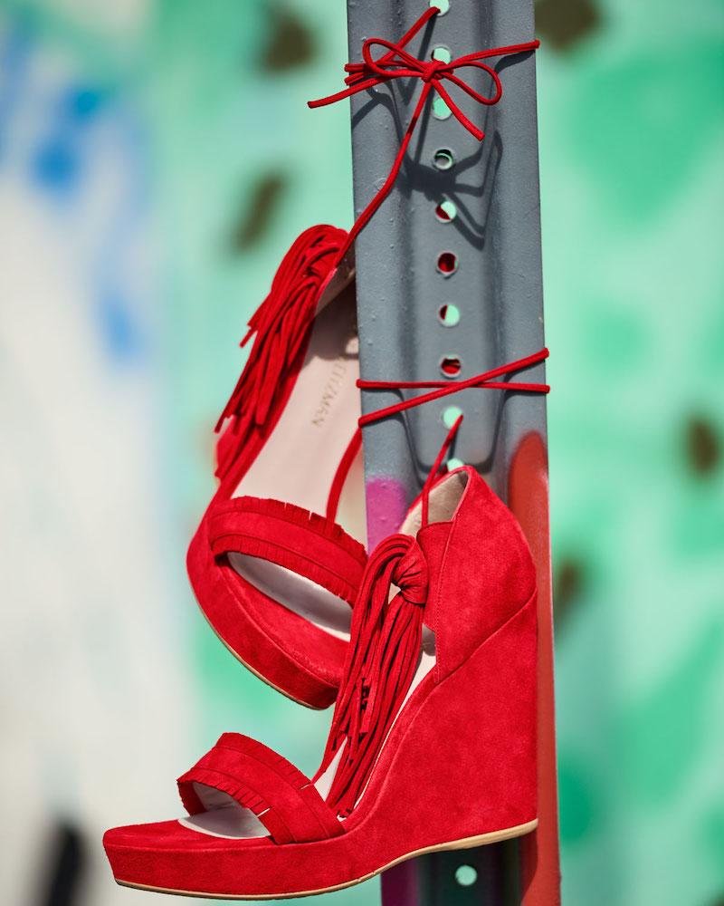 Stuart Weitzman Pompom Fringe Ankle-Tie Wedge Sandal 1