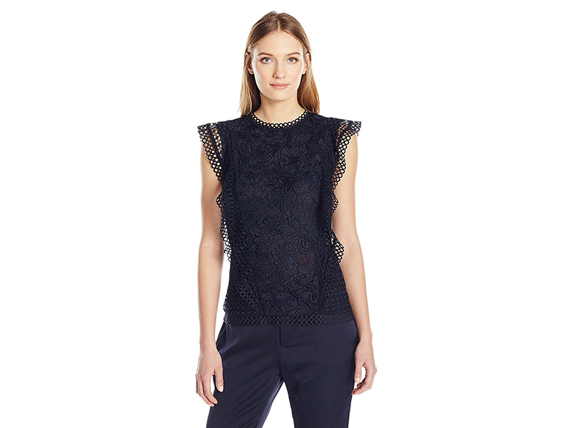 Ted Baker Zania Ruffle Detail Lace Top