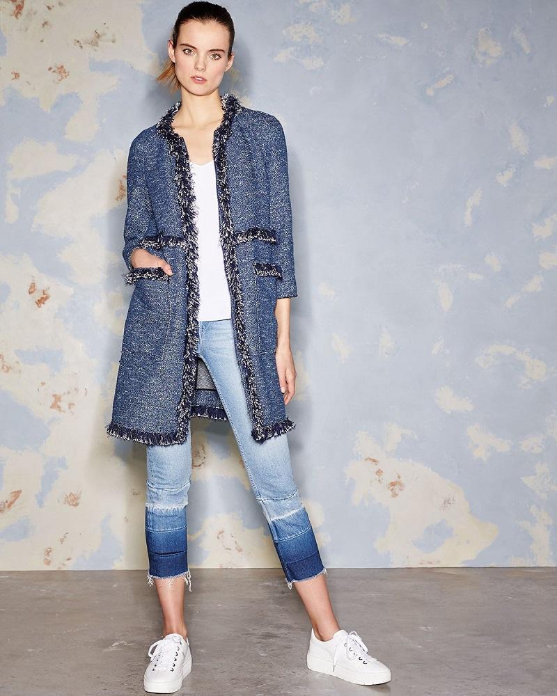 Theory Zarafilla Tweed Zip-Front Coat with Fringe Trim