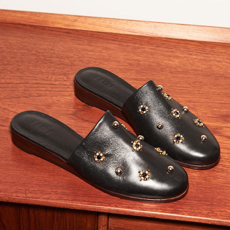 Tibi Kirsi Beaded Demi Wedge Slides