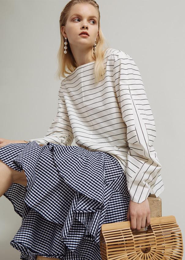 Tibi Striped Shirting Top