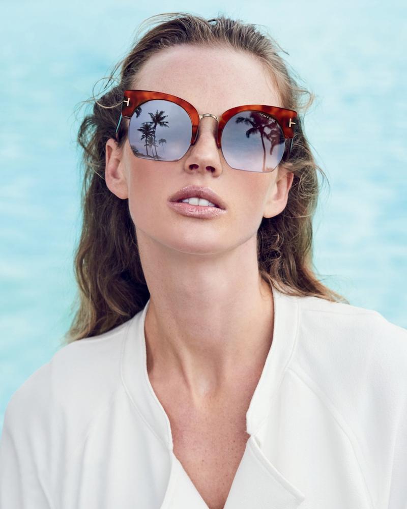 Tom Ford Eyewear Savannah 55MM Cropped Cat Eye Sunglasses