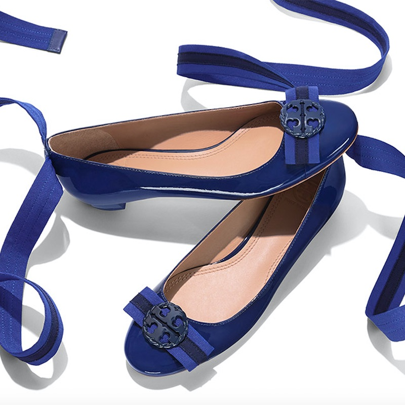 Tory Burch Maritime Patent Ankle-wrap Ballet Flat