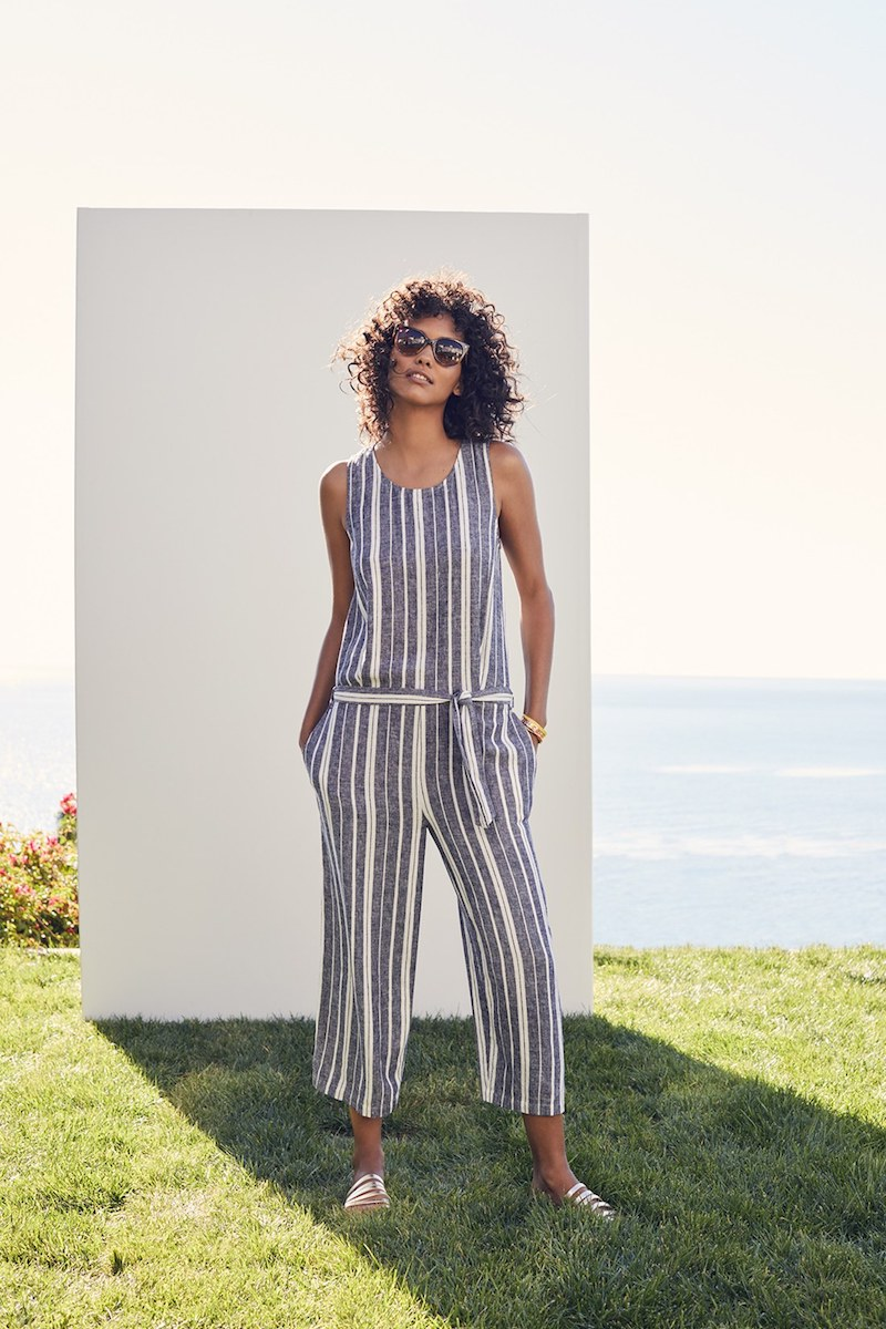 Two by Vince Camuto Stripe Linen Blend Culotte Jumpsuit