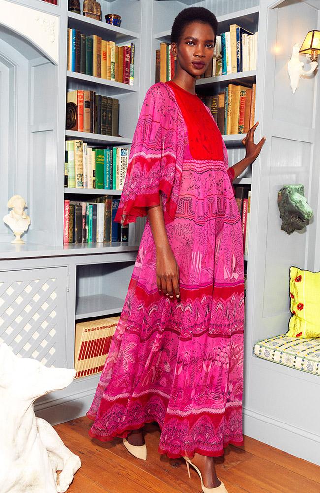 Valentino Flutter Sleeve Maxi Dress
