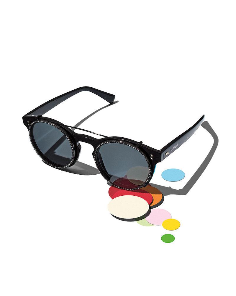 Valentino Rockstud Rivet Round Sunglasses