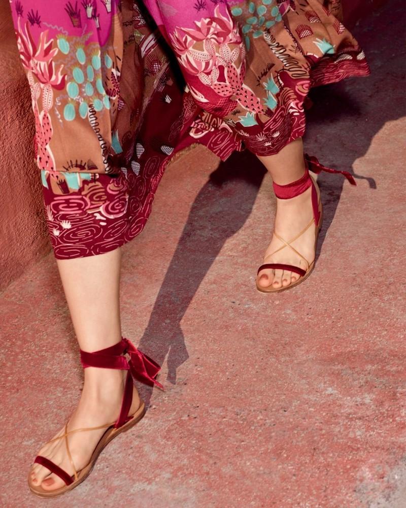 Valentino Velvet Ankle-Wrap Sandals