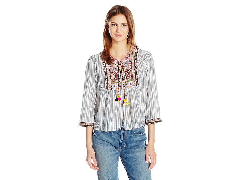 Velvet by Graham & Spencer Embroidered Cotton Stripe Shirt Jacket