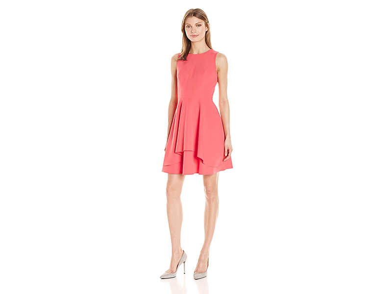 Vince Camuto Solid Scuba Fit and Flare Dress