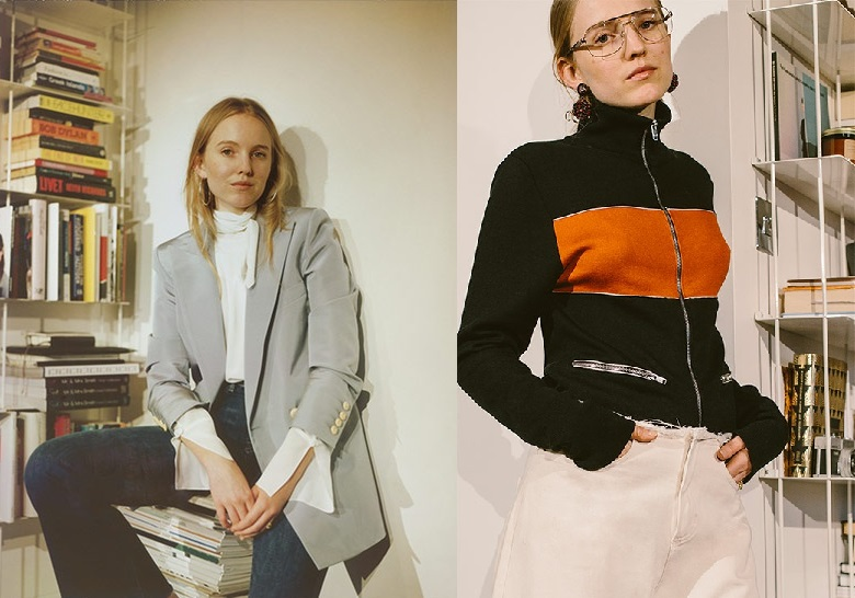Wales Bonner Emory bi-colour silk and cotton-blend jacket