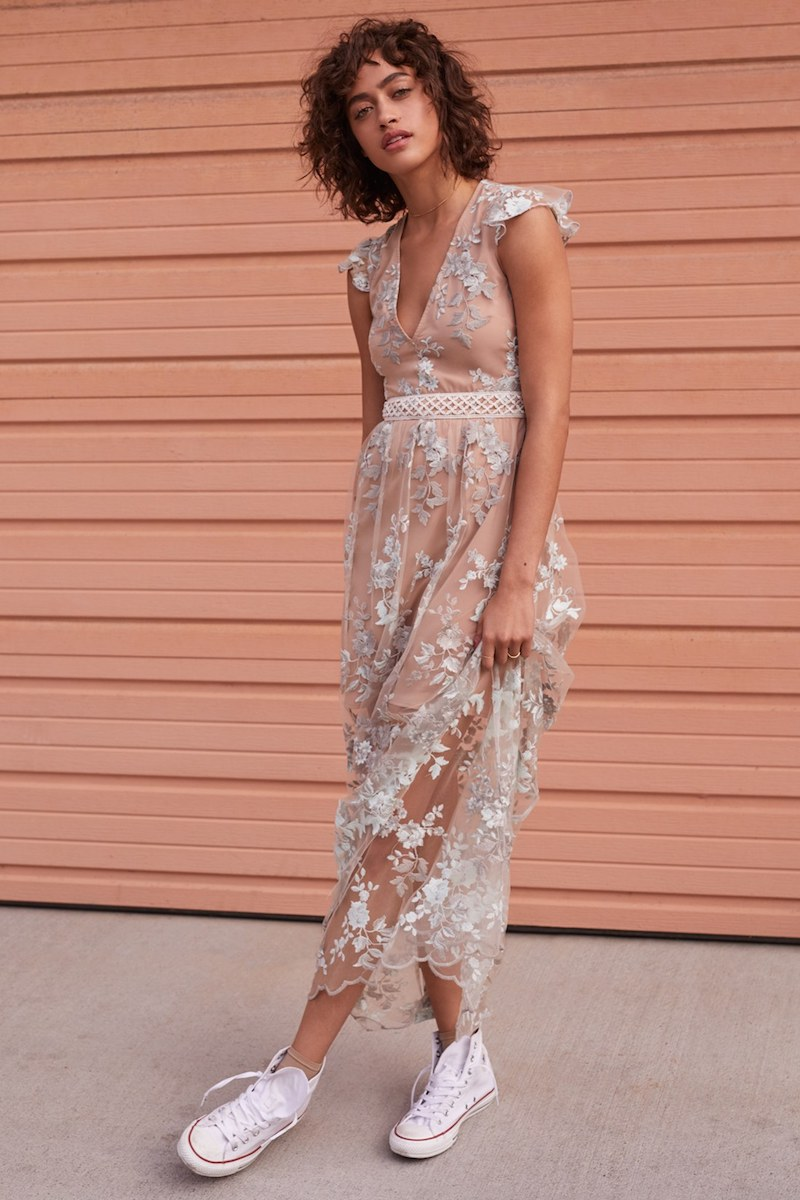 Wayf Oakfield Embroidered Dress