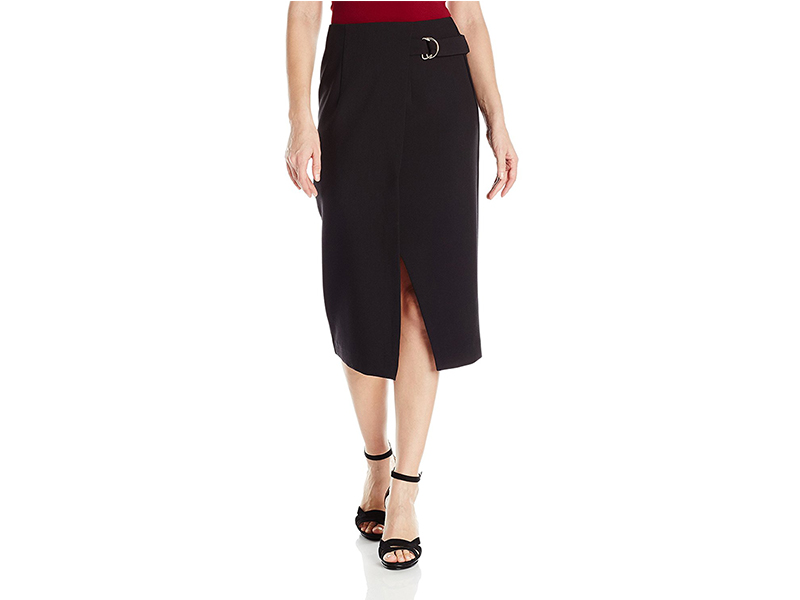 XOXO Faux Wrap Front Skirt with D-Ring