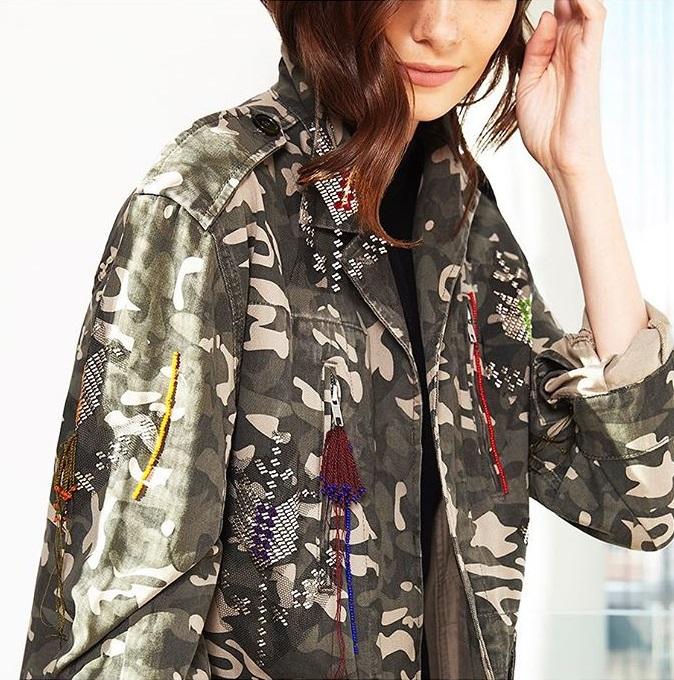 Zeynep Tosun Embellished Camo Jacket