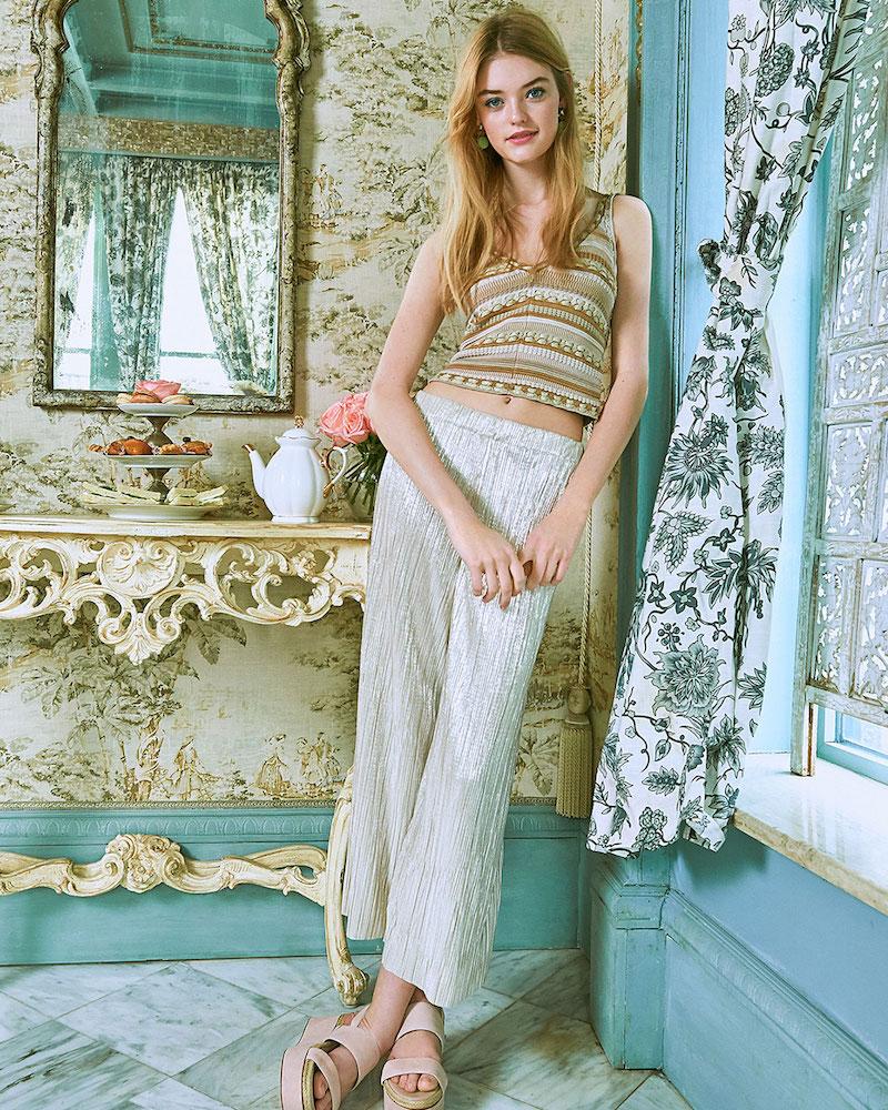 alice + olivia Sandrine Crochet Cropped Tank