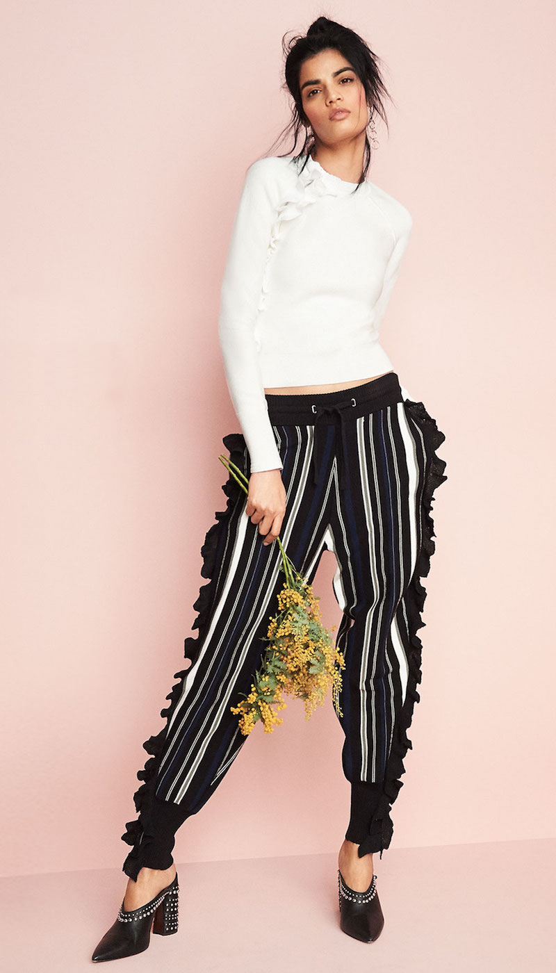 3.1 Phillip Lim Striped Ruffle Sport Pants with Zippers