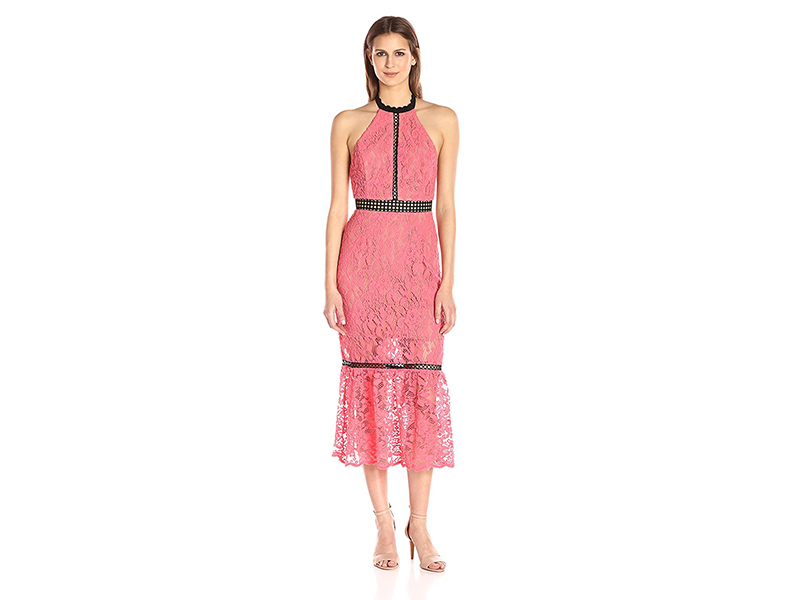 ABS Allen Schwartz Cocktail Dress Halter Neckline Contrast Inserts in Lace