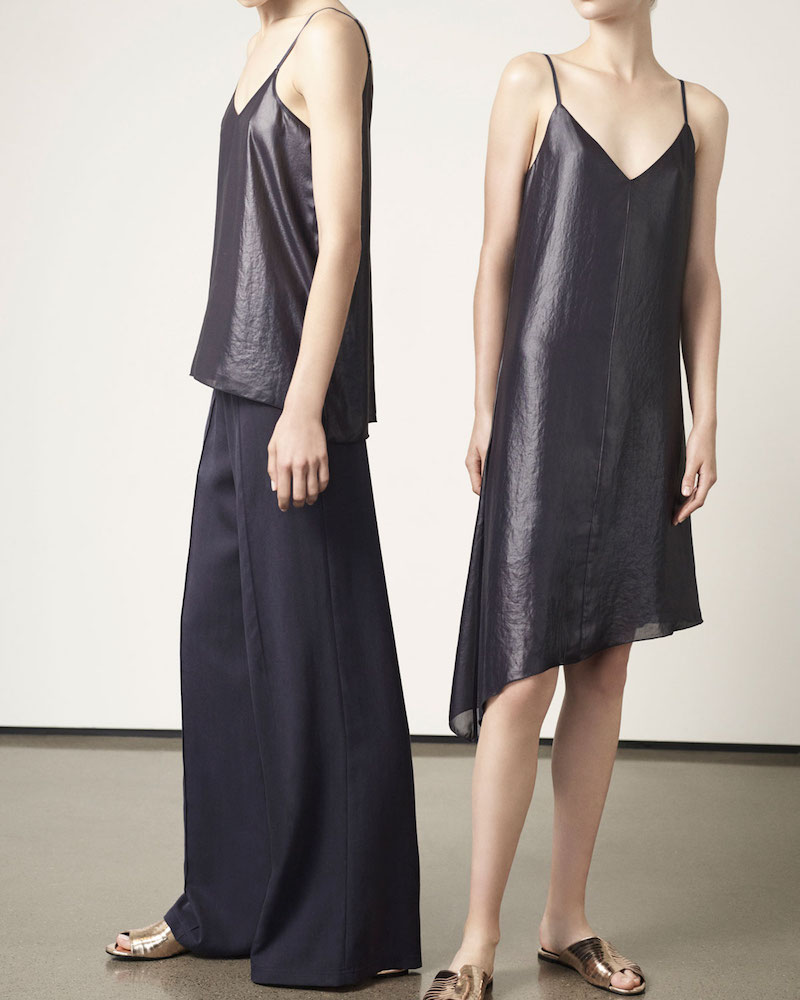 ATM Anthony Thomas Melillo Sleeveless Asymmetric Lacquered Crepe Dress