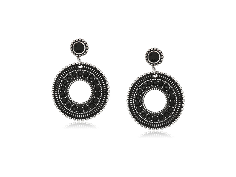 Amazon Collection Stainless Steel with Black Ip and Black Glass Circle Dangle Earrings