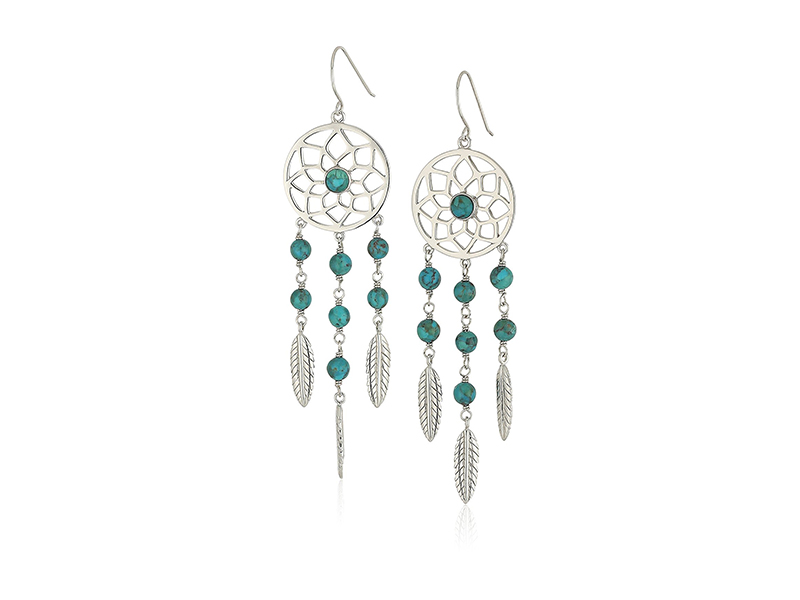 Amazon Collection Sterling Silver Synthetic Compressed Turquoise Dream Catcher Feather Drop Earrings