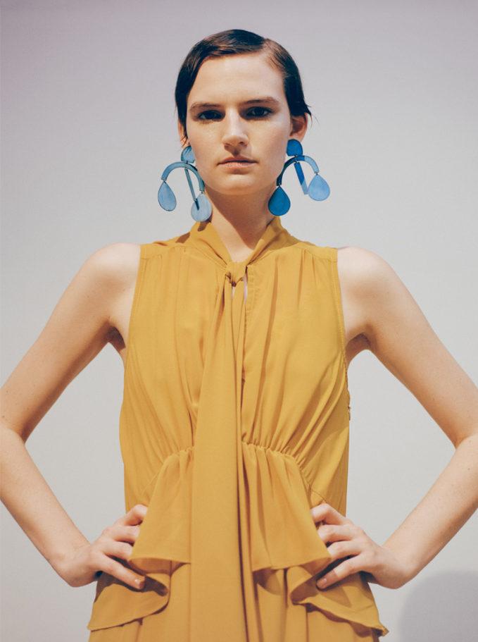 Annie Costello Brown Arc Drop Earrings in Blue Ox