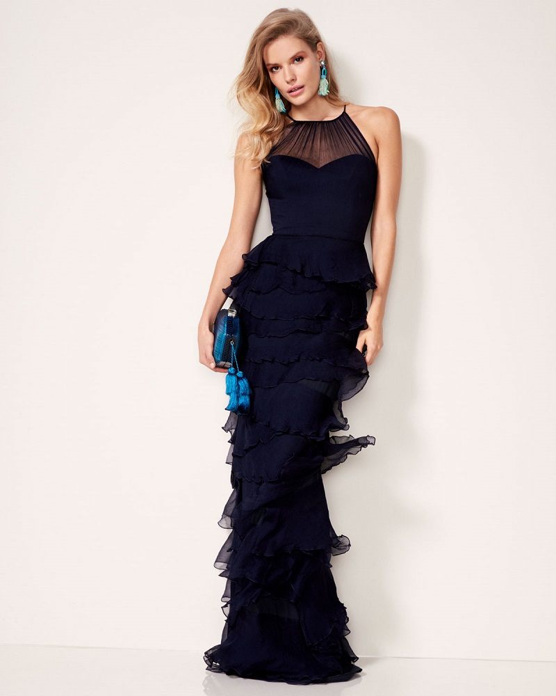 Badgley Mischka Sleeveless Silk Tiered Ruffle Gown