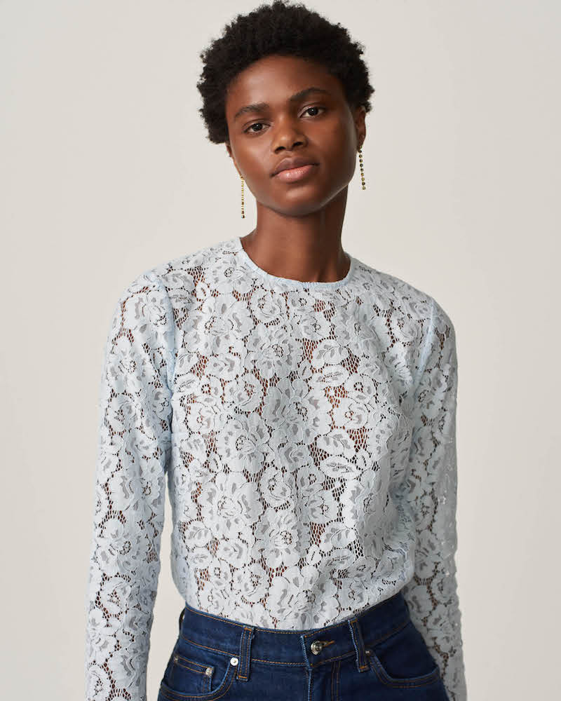 Barneys New York Cotton-Blend Lace Blouse