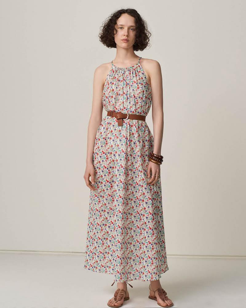 Barneys New York Floral Silk Sleeveless Maxi Dress