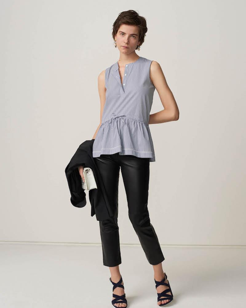 Barneys New York Lambskin Straight-Leg Trousers