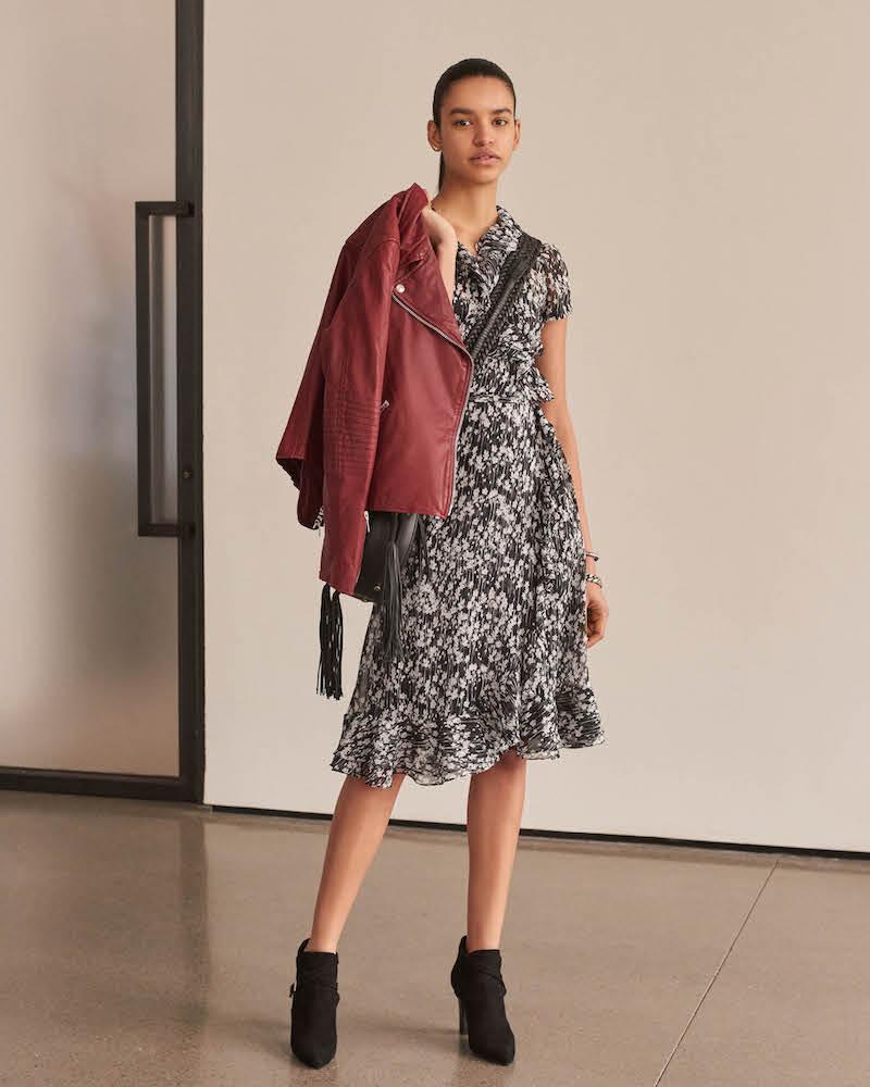 Barneys New York Ruffle Floral Silk Wrap Dress
