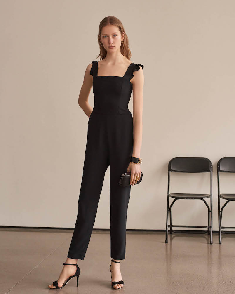 Barneys New York Ruffle-Trimmed Crepe Jumpsuit