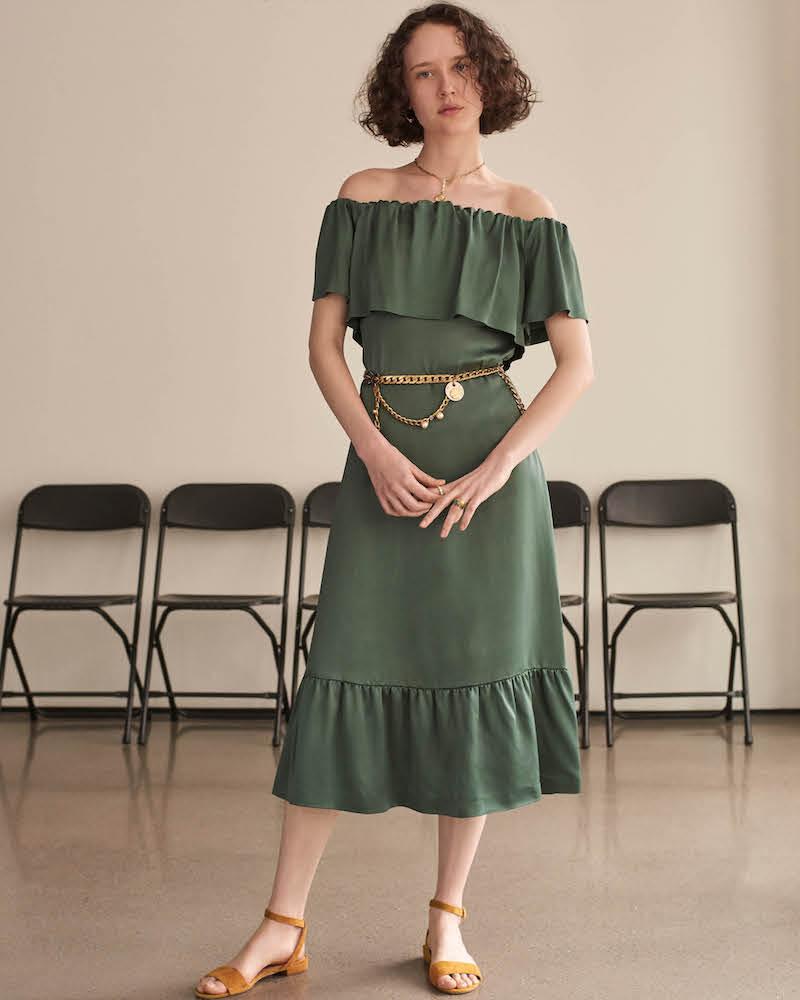 Barneys New York Textured Satin Belted Midi-Dress