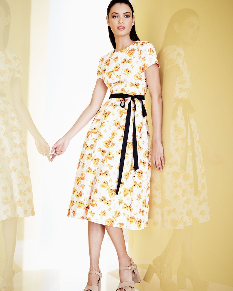 Carolina Herrera Butterfly-Print Midi Dress with Belt
