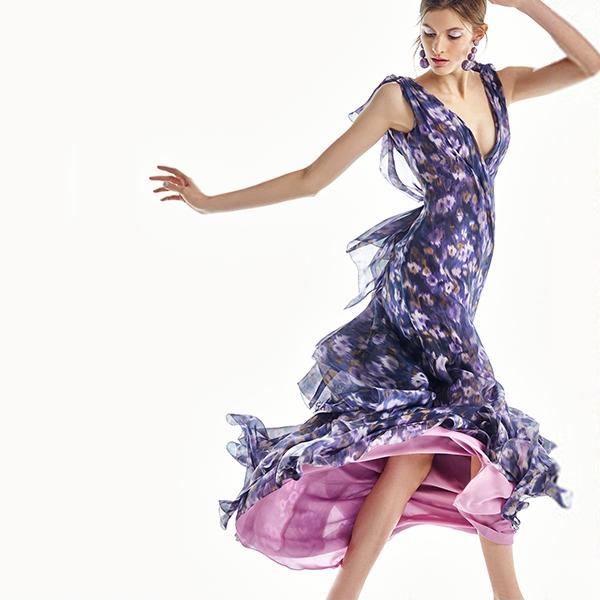 Carolina Herrera Floral Printed Gown