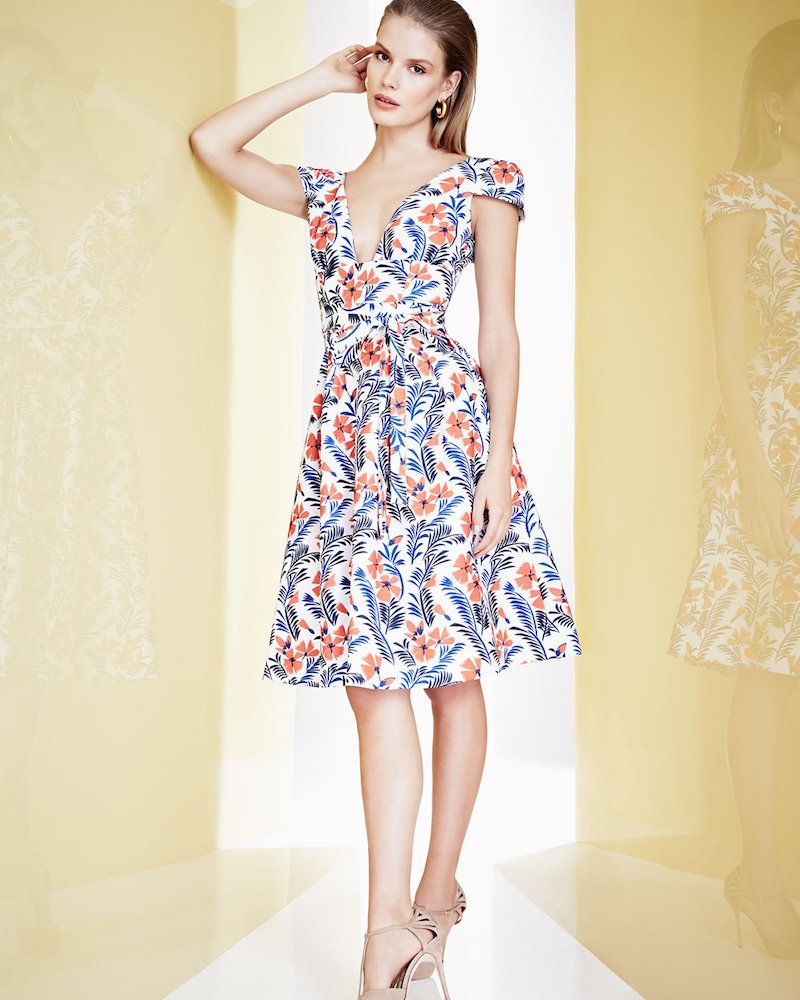 Carolina Herrera Poppy Cap-Sleeve Belted A-Line Dress
