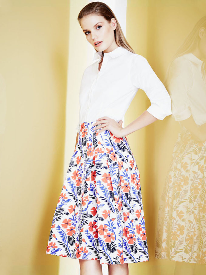 Carolina Herrera Poppy-Print Pleated Skirt