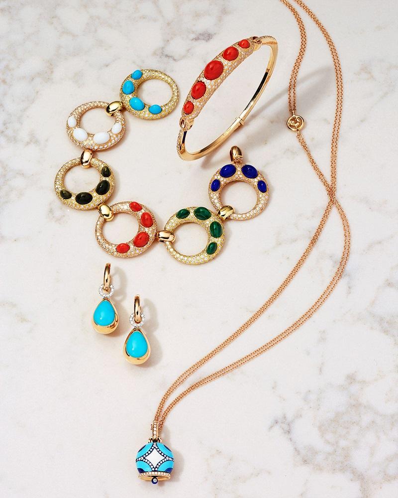 Chantecler Jackie Multicolor Cabochon & Diamond Round Link Bracelet