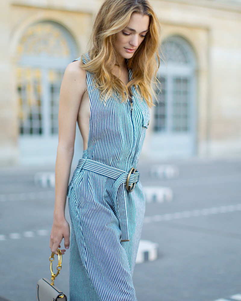 Chloé Striped Denim Jumpsuit