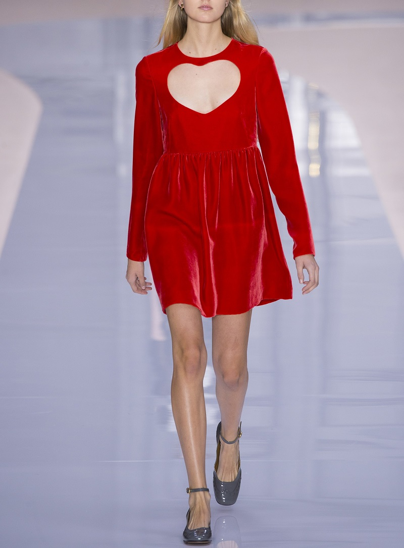 Chloe Long-Sleeve Velvet Heart-Cutout Minidress