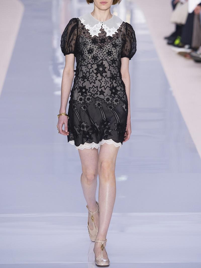Chloe Starry Night Short-Sleeve Organza Dress