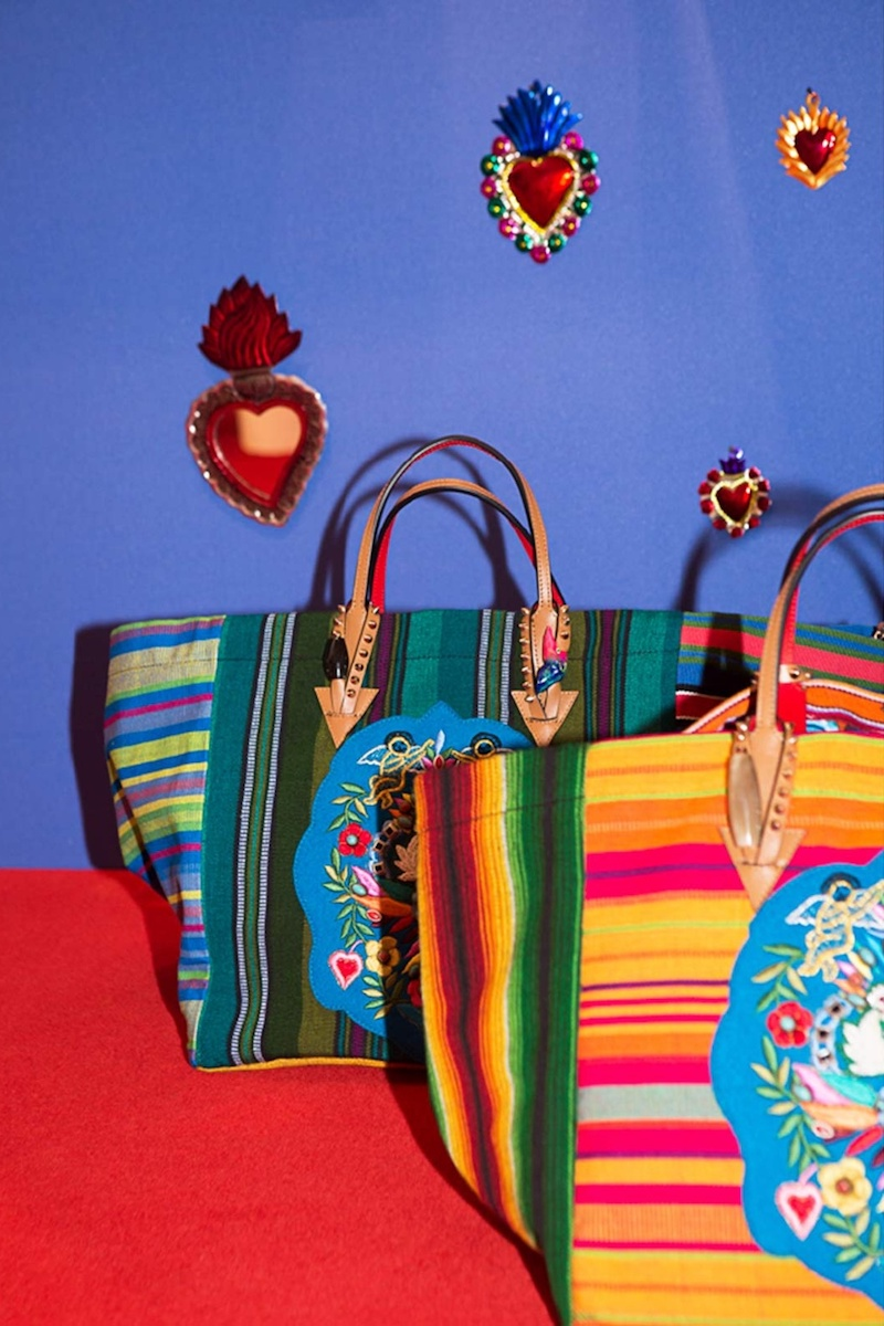 Christian Louboutin Mexicaba Crest-Embroidered Striped Tote