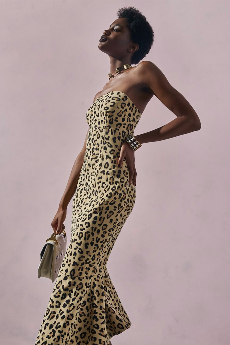 Cinq à Sept Luna Leopard-Print Strapless Dress