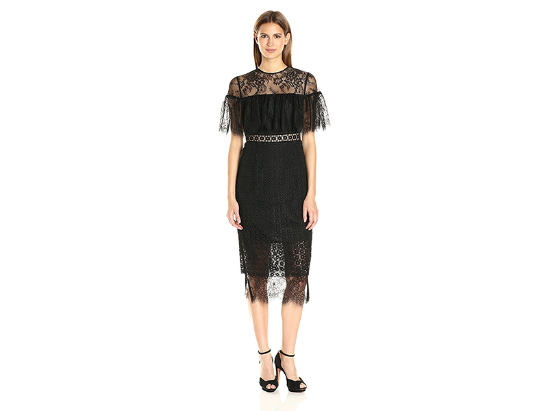 Cynthia Rowley Combo Delicate and Geo Lace Midi Fitted Dress with Sheer Yoke