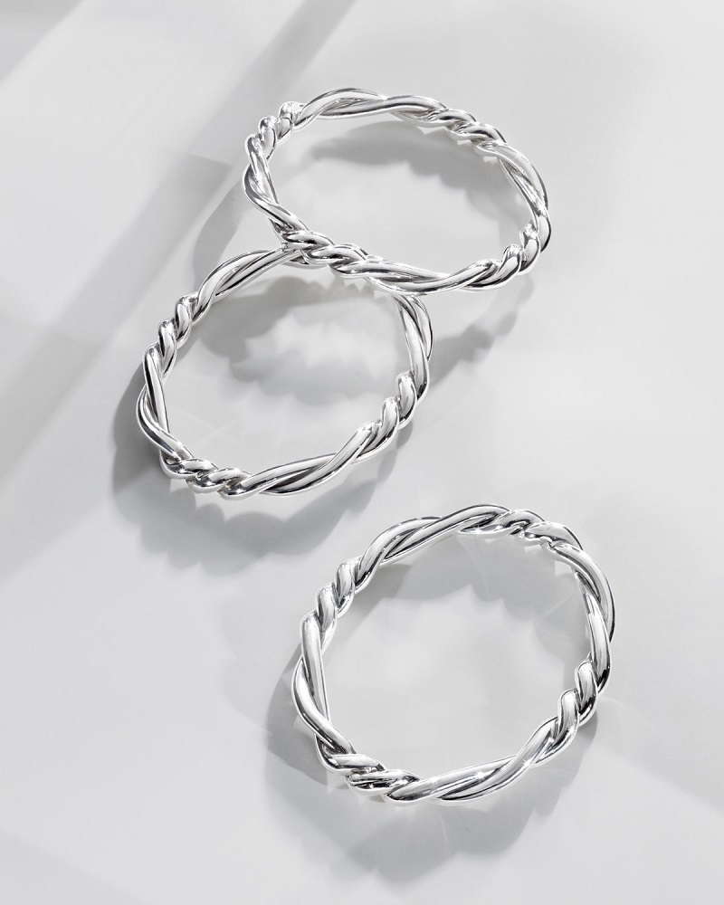 David Yurman 7mm Continuance Twisted Sterling Silver Bracelet-
