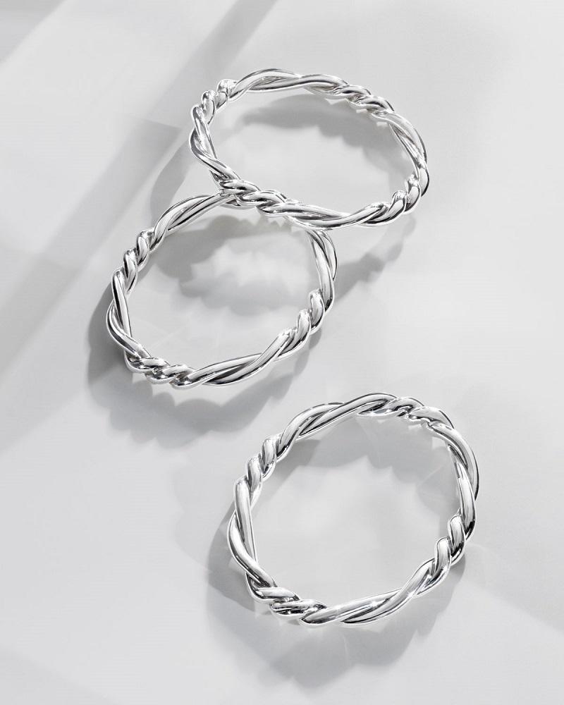 David Yurman 7mm Continuance Twisted Sterling Silver Bracelet-