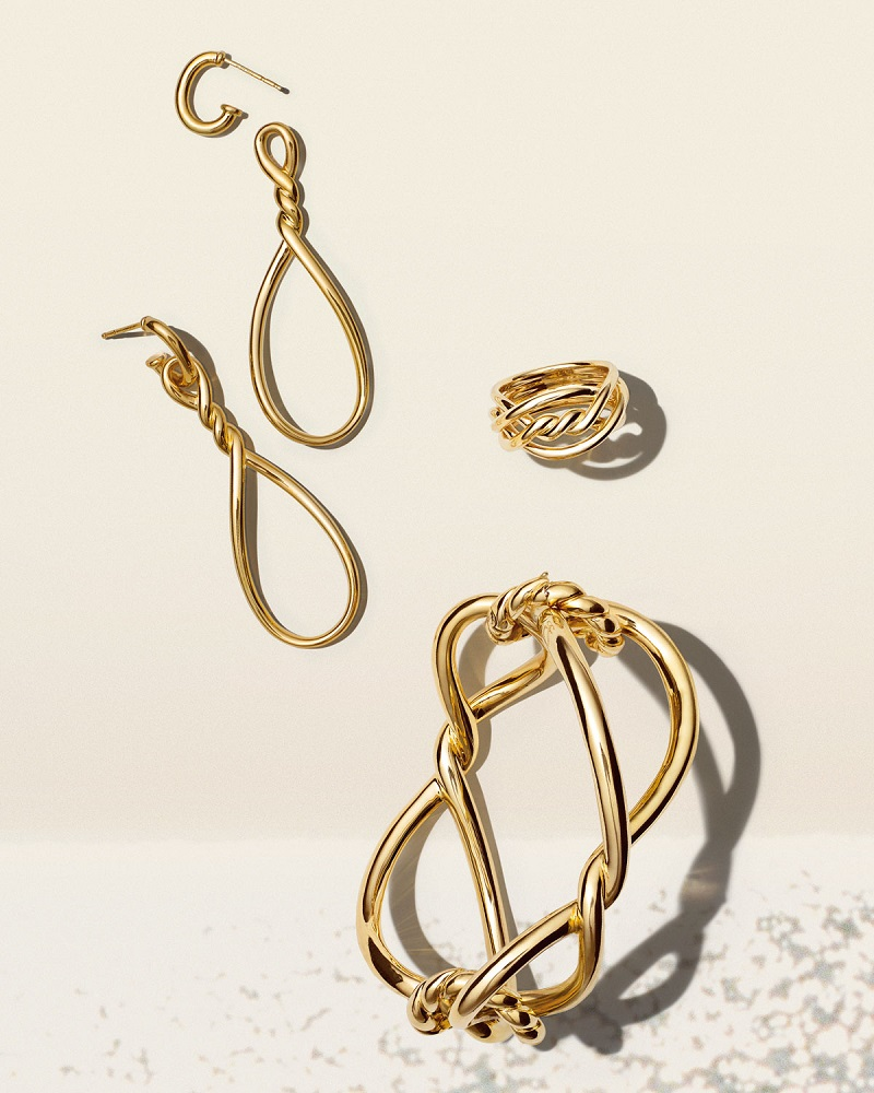 David Yurman Continuance Twisted 18K Gold Teardrop Earrings
